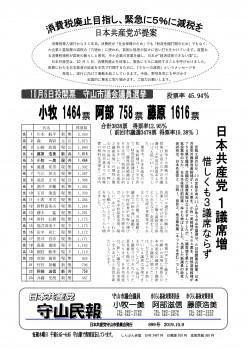 民報899 守山市議選結果_01